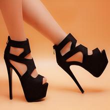 2016 spring and summer scrub velvet thin heels 15.5cm women's shoes open toe ultra high heels platform sandals black female
