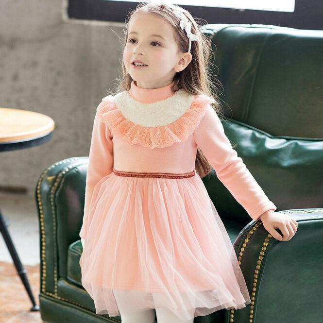 Fashion Autumn Winter Cotton Fleece Children Princess Dress Little Girls Winter Tulle Dress  Kids Thick Dress Pink  Dark Blue<br><br>Aliexpress