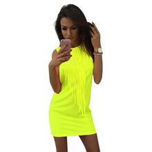 Buy Neon Tassel Women Dress Summer Shoulder Sleeveless O-neck Pencil Sexy Night Club Fashion Mini Ladies Dresses for $8.39 in AliExpress store