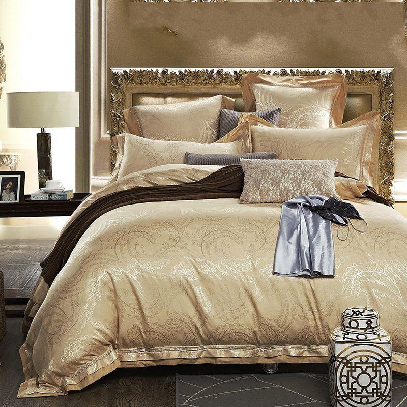 buy luxury satin silk jacquard bedding