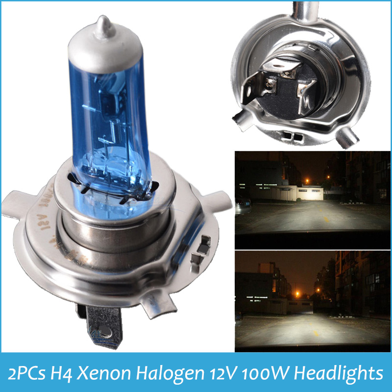 2x H4 XENON HALOGEN BULB 12V 100W Headlights 9003 H4 6000K Xenon Car HeadLight H4 Bulb Halogen Car Styling h4 Head Light(China (Mainland))