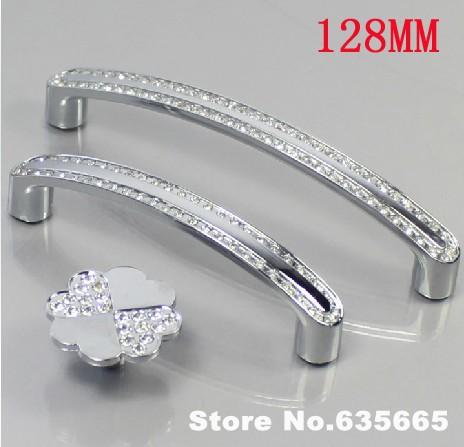 10pcs Furniture Handles 128MM Hardware Crystal Diamond Knob Pull Drawer Wardrobe Kitchen Cabinets Cupboard Pull Door Accessories(China (Mainland))