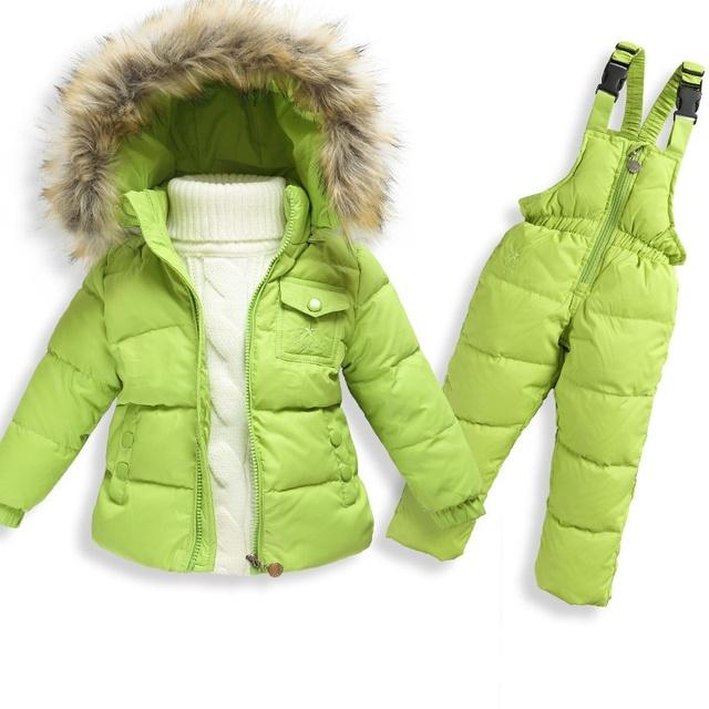 Русская зима новый 2016 новорожденных девочек зимние детей девочек белая утка вниз пальто комбинезоны комплект одежды куртка, детская одежда