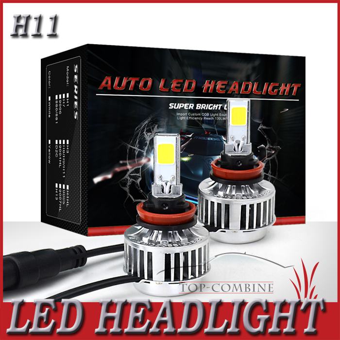 All In One New Arrival Auto Car LED Headlight H11 White 3000LM 12V 33W Cree COB LED Fog Light Free Shipping + 2 Years Warranty(China (Mainland))