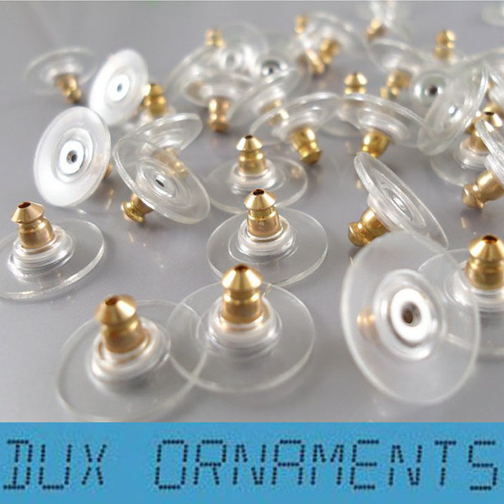 500pcs Gold,Silver,Bronze etc Packs of Earring Backs Stops Stoppers Gold Silver Bronze Antique Rubber Clear