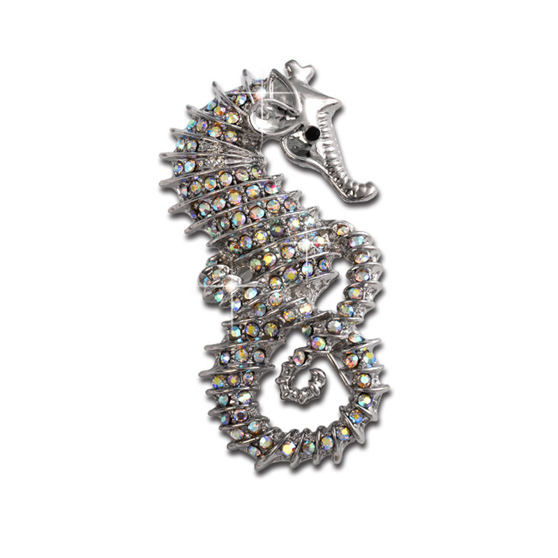 MZC Vintage Retro Hippocampus Sea Horse Brooch Crystal Rhinestone Brooches Pins Collar Brosches For Women Christmas Gift(China (Mainland))