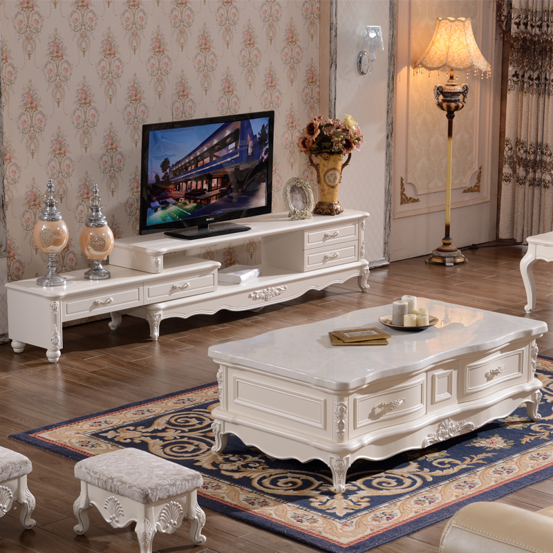 Solid Wood Coffee Tables With Storage Cabinets For Sale: European Style Living Room Coffee Table TV Cabinet