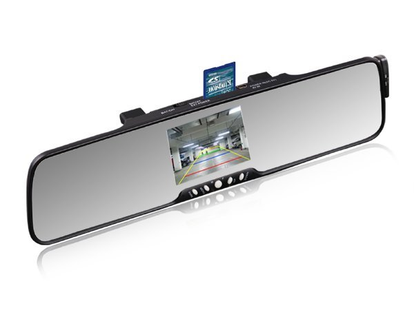"3.5""TFT handsfree car kit bluetooth rearview mirror with reverse camera +FM+MP3+phonebook"