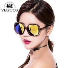 VEGOOS 2016 New Fashion Polarized Women Sunglasses Female Large Round Frame Brand Designer Retro Sun Glasses Woman  Eyewear#9087