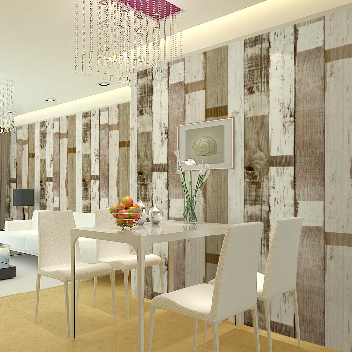 HaokHome Vintage wood Vinyl wallpaper 0.53m*10m,modern art style for art bar Living room,wholesale(China (Mainland))