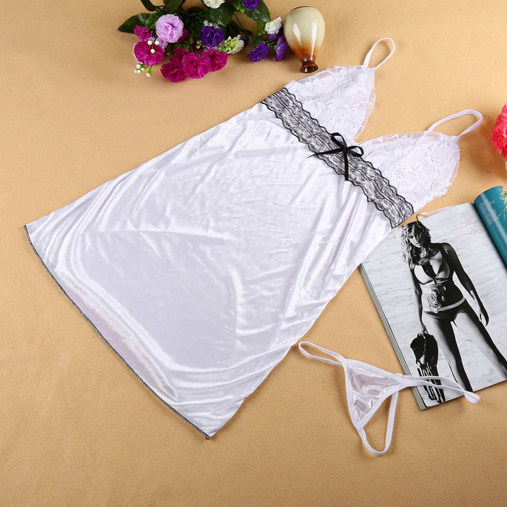 Sexy Camisole Conjoined Dress Suit Erotic Babydoll Women White Hot Lace Dress Lingerie Nightwear Underwear Sleepwear+G-string(China (Mainland))