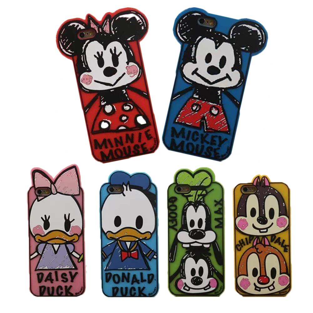 2015 Hot 3D Cartoon Silicone Case Graffiti Mickey Minnie Mouse Donald Daisy Duck Cover For Capinha iphone 5S 5 4 4S Phone Cases(China (Mainland))