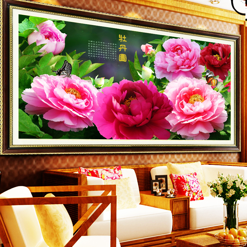 Impressão ponto cruz peônia muito Blooming flores