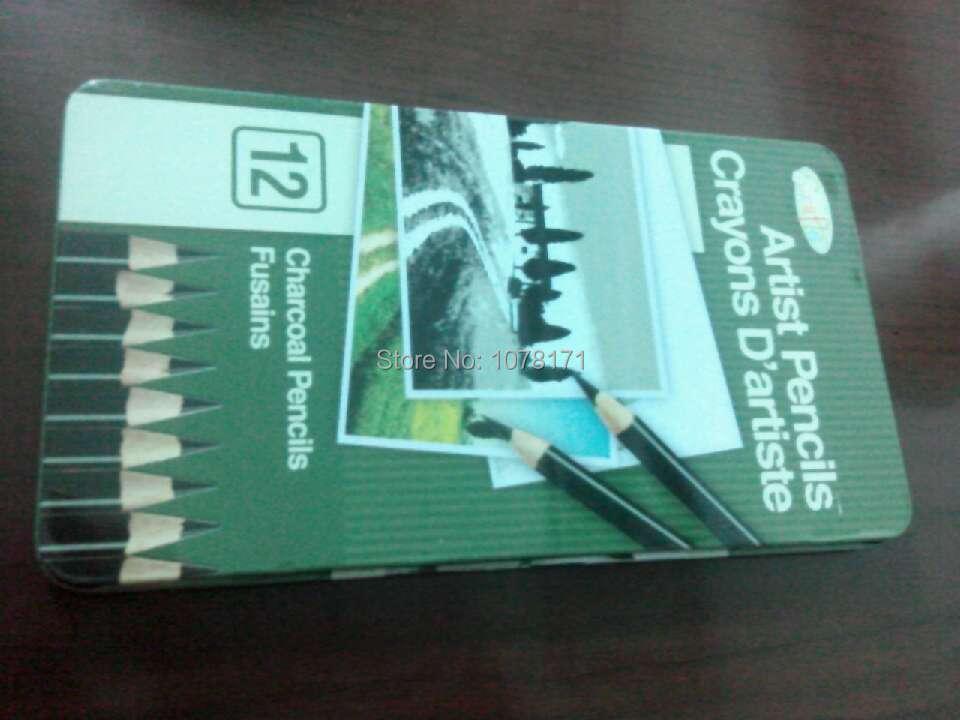 18*10*1cm color pencil box charcoal pencil fusains 12 color(China (Mainland))