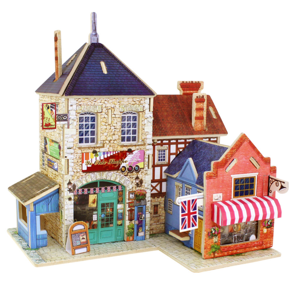 Exquisite Building 3D Puzzle Jigsaw Wooden Toys Children's Educational Wooden Chalets 3D Puzzle Gift FCI#(China (Mainland))
