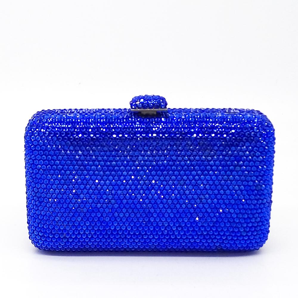 Socialite Women BlueGem Sapphire Full Crystal Diamond Mini Box Clutch Handbag Evening Wedding Party Metal Hardware Clutches Bag(China (Mainland))