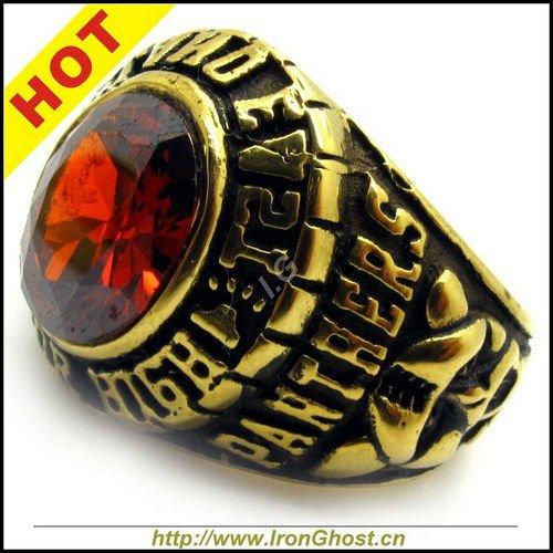Hot Sale! Fashion Men's Red CZ Ruby Crystal Ring Gold Brass Stainless Steel Royal Gold Panthers Ring Size 8-13(China (Mainland))