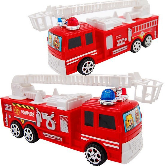 Red plastic simulation fire fighting truck inertia model for children play game Save safe toy car for kids free shipping(China (Mainland))
