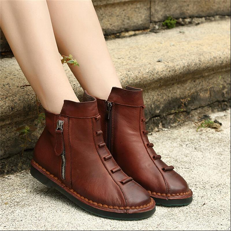 Comfortable 100% leather autumn winter genuine boots round toe flat heels women soft sole shoes  -  Dream Girl House Store store