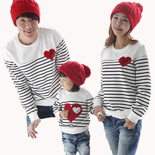 spring 2016 fashion new Autumn/Winter family clothing sets for mother/daughter/ father and child stripe T-shirt clothes hot sale(China (Mainland))
