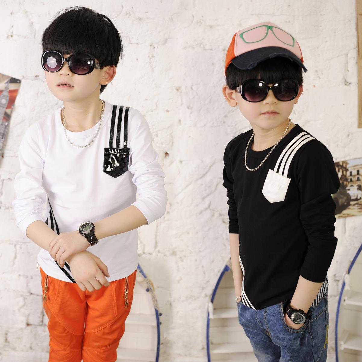 2013 spring shampooers o-neck t shirt o-neck basic male child 0357(China (Mainland))