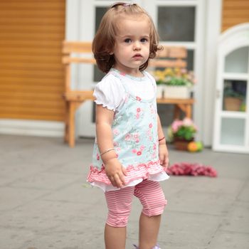 Summer casual rustic female baby clothes baby clothes children's clothing child set