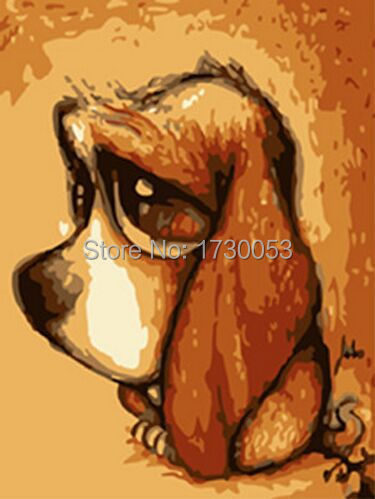 paint by numbers E113 dog oil painting picture wall art painting for children(China (Mainland))