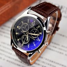 Hot Fashion Men's Leather Band Stainless Steel Sport Military Quartz Wristwatch Analog 4 Styles