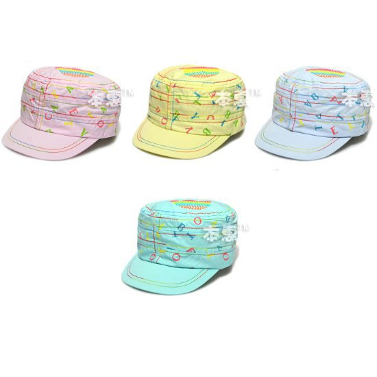 Cartoon Stripes Letters Unisex Children Kid Peaked Flat Cap Baby Hat CCAP116(China (Mainland))