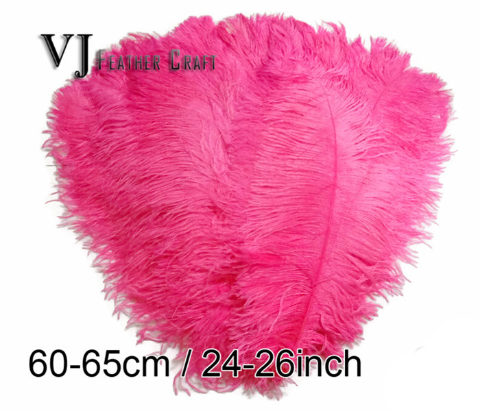 50pcs 60 65cm 24 26inch rose color natural ostrich for Where to buy craft feathers