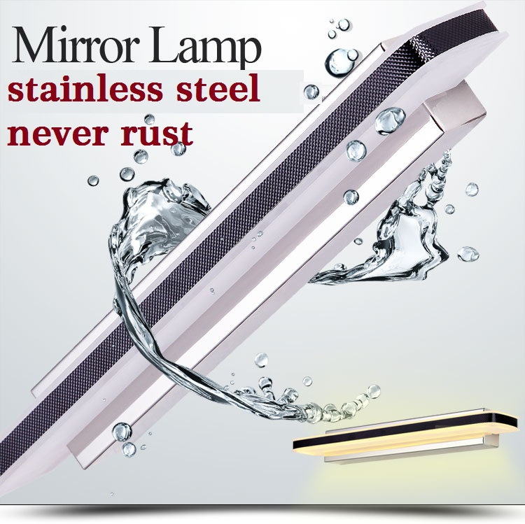 Waterproof acrylic Led mirror front wall lamps 90-260V AC brief bathroom wall lights 80cm 100cm stainless(China (Mainland))