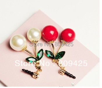 2014 Time-limited Free Shipping , Cute Cherry Anti Dust Crystal Earphone Jack Plug for Iphone,phone +organza Bags Gift 12pcs/lot