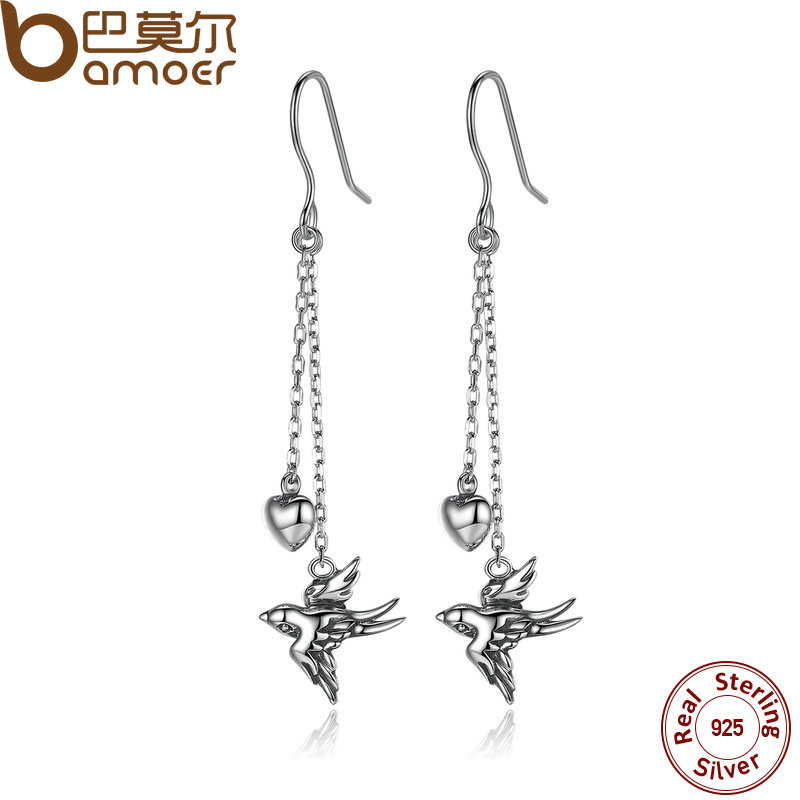 BAMOER 925 Sterling Silver Long Drop Earrings Fine Jewelry Swallow Female Drop Earrings Jewelry Earrings Accessories SCE005(China (Mainland))