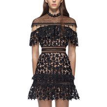 Buy 2017 women style new fashion elegant vestidos bodycon sexy black mini short runway spring summer lace dress #8020 for $26.80 in AliExpress store