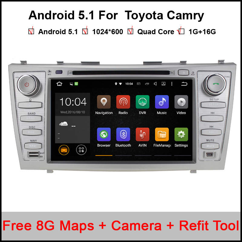 Free shipping Quad core 1024*600 HD 2 din Android car dvd player For CAMRY 2007-11 auto radio double din with google play(China (Mainland))