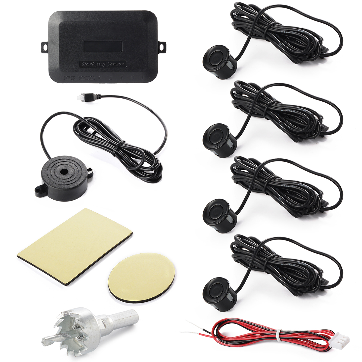 Parking 4 Sensors Car Reverse Backup Rear Buzzer Radar System kit Sound Alarm Black MA320