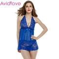 Avidlove Babydoll Sleepwear Halter Women Sexy Lingerie Nightwear Underwear Dress Set Lace Chemise with G String