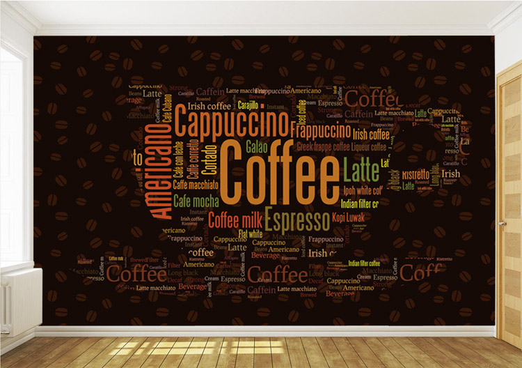 Wallpaper shop picture more detailed picture about for Coffee shop mural