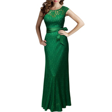 JIROFA Women Lace Long Dress Summer Casual Robe Sexy 2016 UK Green Elegant Prom Lady Maxi Dresses Big Size Evening Party Vestido(China (Mainland))