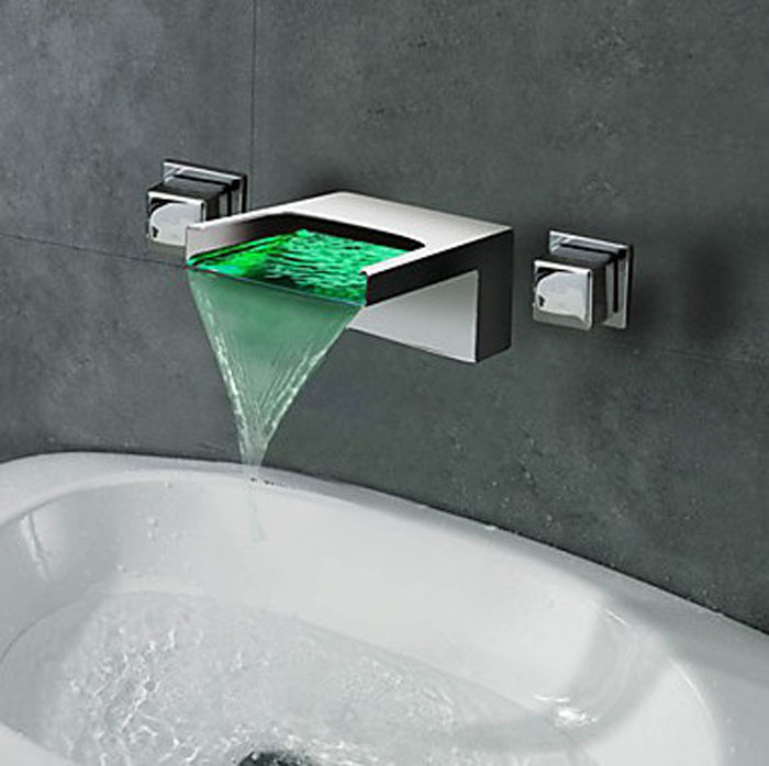 Modern Waterfall Wall Mount 3 Colors LED Bathroom Sink Faucet Dual Handle Col