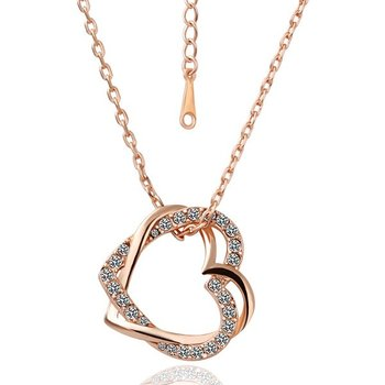 18k Yellow gold plated heart Necklaces CZ Crystal Woman 's Necklace wholesale free shipping KN003