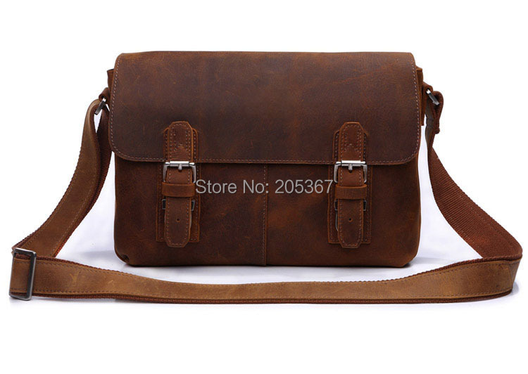 J.M.D Hot Sell Crazy Horse Leather Best Messenger Bag Bike Messenger bag Brown Messenger Bag # 6002B-1(China (Mainland))