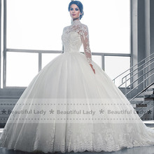 Buy Elegant Hijab Wedding Dress 2017 High Neck Long Sleeve Sheer Lace Ball Gown Bridal Gowns See Sexy Wedding Dresses for $146.25 in AliExpress store