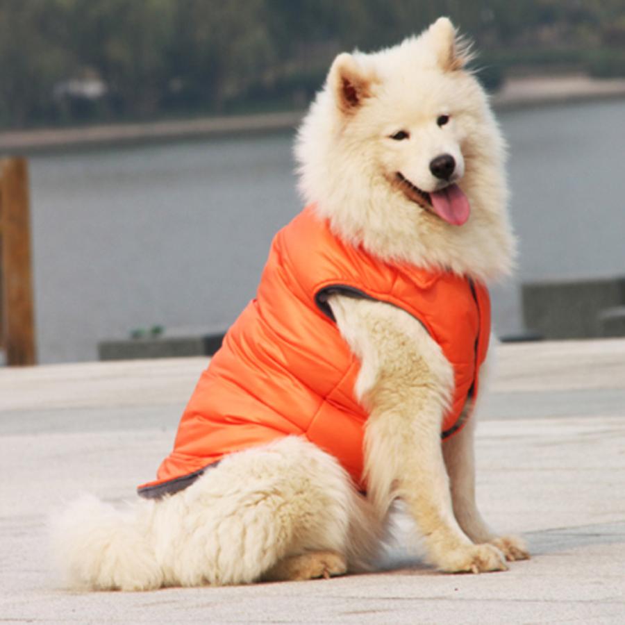 Medium Large Big Dog Clothes Winter Windproof Warm Thicken Down Jacket Cotton Padded Coat Samoyd Labrador Dog Apparel(China (Mainland))