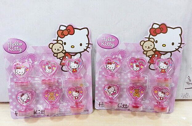 wholesale New 12sets love heart Hello kitty Lunch box roller stamper Set Children Stationery Gift Party Favors(China (Mainland))