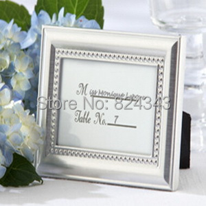 Small s+Beautiful Silver Beaded Photo Frame Place Card Holder Bridal&Wedding Shower Favors+1+ - Romantic Wedding Gift Shop store