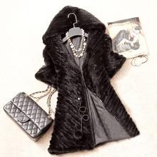 New Real Knit Mink Fur Jacket Hooded Mink Fur Coat Women Fashion Mink Fur Garment Warm Winter Fur outerwear(China (Mainland))