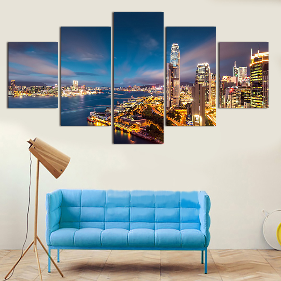 The City Landscape The Beauty Of Night Sky City Modern Home Decor Oil Painting Wall Art Canvas Hd Print For Living Room