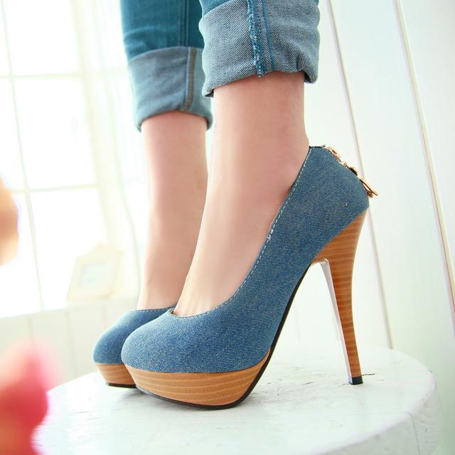 2013 spring ultra high heels thin heels single shoes sweet gentlewomen denim women's elegant platform shoes