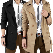 Free Shipping 2014 Autumn Hot-selling Trench Men Double Breasted Trench Men's Outerwear Casual Coat Men's Jackets(China (Mainland))